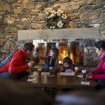 Family keeping warm at Banff Sunshine