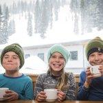 Kids enjoying a hot chocolate at Whitewater