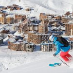 Val Thorens Village and Skier