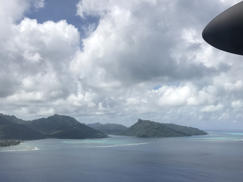 View from the plane arriving into Tahiti
