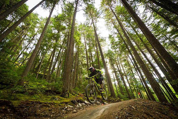 Getting airborne at Whistler Mountain Bike Park